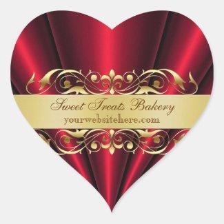 Red Heart Fan Cupcake Baking Label Sticker