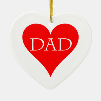 Red heart father's day gift ceramic ornament