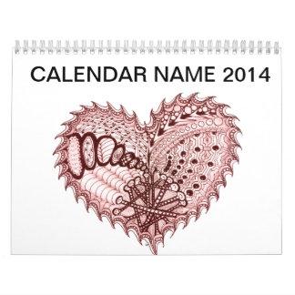 Red Heart Fire Doodle Calendar