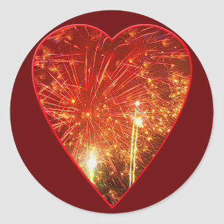 Red Heart Firework Classic Round Sticker