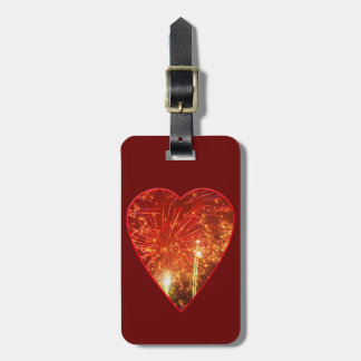 Red Heart Firework Luggage Tag