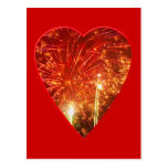 Red Heart Firework Post Cards