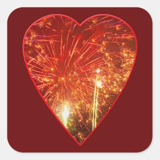 Red Heart Firework Square Sticker