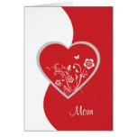 Red Heart Flower Mom Birthday Card
