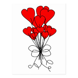 Red Heart Flowers Bouquet Hearts Illustration Postcard