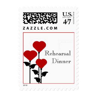 Red Heart Flowers Rehearsal Dinner Stamps
