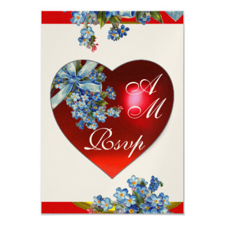 RED HEART & FORGET ME NOTS MONOGRAM blue gold Card
