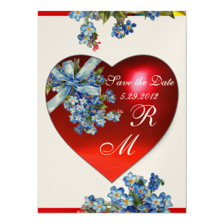 RED HEART & FORGET ME NOTS MONOGRAM blue gold 5.5x7.5 Paper Invitation Card