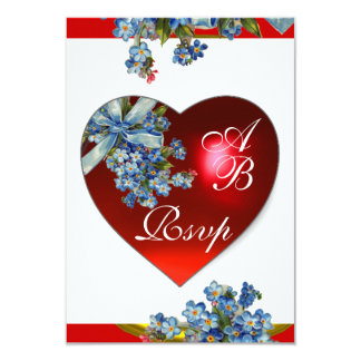 RED HEART & FORGET ME NOTS MONOGRAM blue white Card