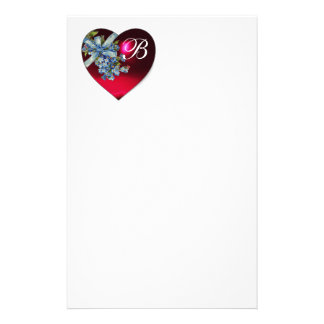 RED HEART & FORGET ME NOTS MONOGRAM STATIONERY
