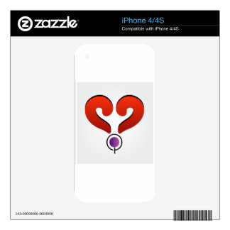 Red heart formed by 2 question marks decals for iPhone 4S
