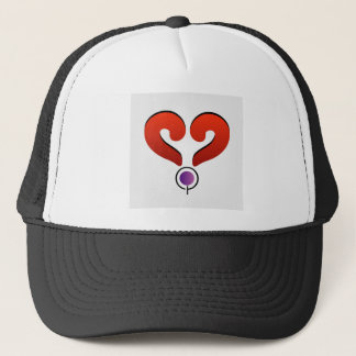 Red heart formed by 2 question marks trucker hat