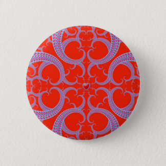 Red Heart Fractal Pattern Button