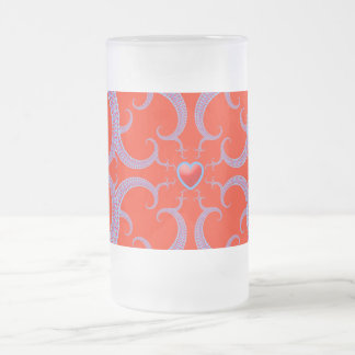 Red Heart Fractal Pattern Frosted Glass Frosted Glass Beer Mug