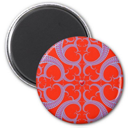 Red Heart Fractal Pattern Magnet