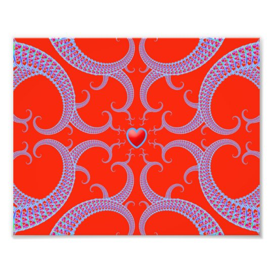 Red Heart Fractal Pattern Photo Print