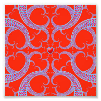 Red Heart Fractal Pattern Photo Print