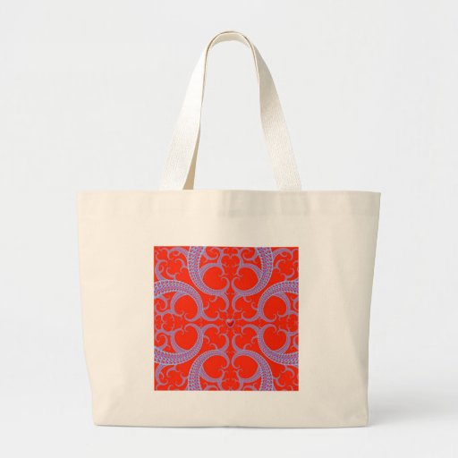 Red Heart Fractal Pattern Tote Bags
