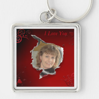 Red Heart frame Silver-Colored Square Keychain