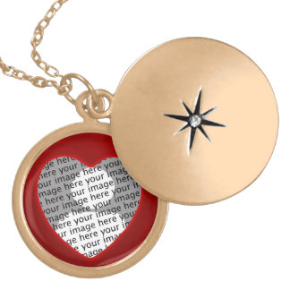 Red Heart Frame Photo Locket in Gold