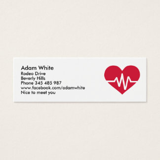 Red heart frequency love mini business card