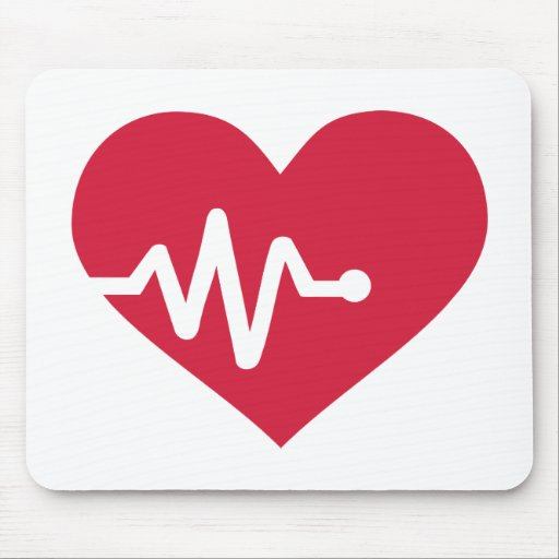 Red heart frequency mousepad