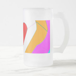 red heart frosted glass beer mug