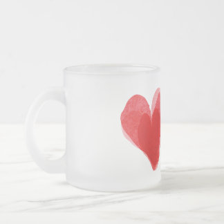 Red Heart Frosted Glass Coffee Mug