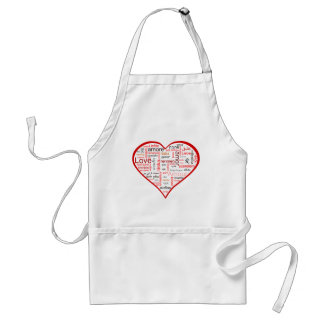Red Heart full of Love in many languages Adult Apron