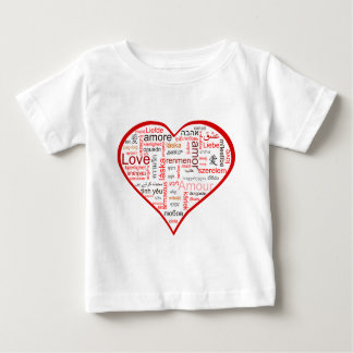 Red Heart full of Love in many languages Baby T-Shirt