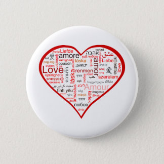 Red Heart full of Love in many languages Button