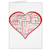 Red Heart full of Love in many languages Card