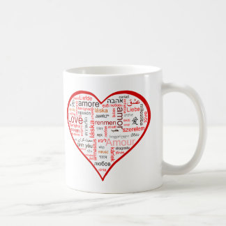 Red Heart full of Love in many languages Classic White Coffee Mug