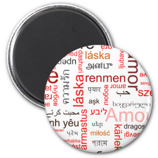 Red Heart full of Love in many languages Magnet