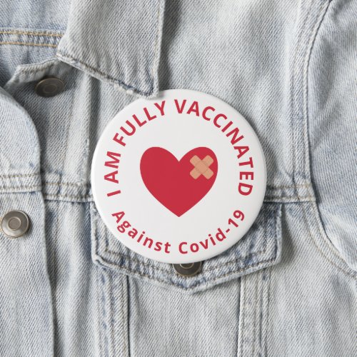 Red Heart Fully Vaccinated Button