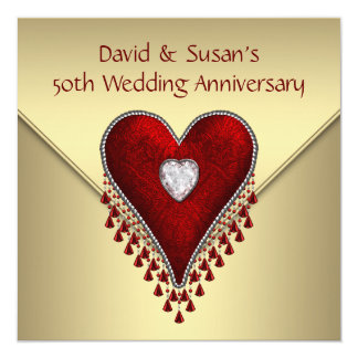 Red Heart Gold 50th Wedding Anniversary Party Custom Announcements