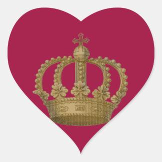 Red Heart Gold Crown Sticker