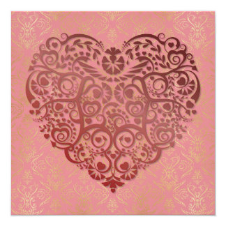 Red Heart & Gold Damask on Pink Valentine Card
