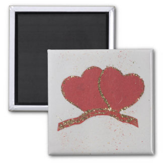 Red heart gold sparkle Valentine's 2 Inch Square Magnet