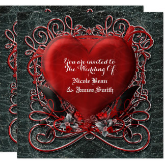 Red Heart Gothic Valentine Wedding Invitations
