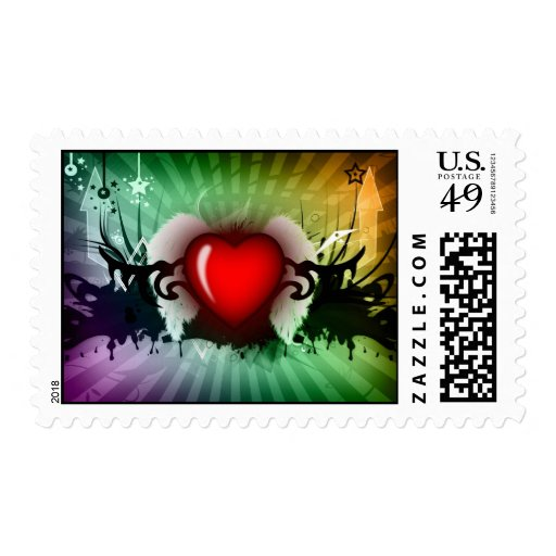Red heart graphic - postage stamps