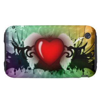 Red heart graphic - tough iPhone 3 covers