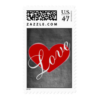 Red Heart Gray Chalkboard Love Wedding Stamp