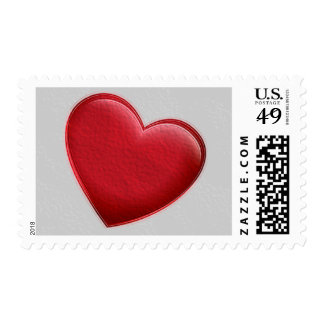 Red Heart Gray Trendy Love Wedding Postage