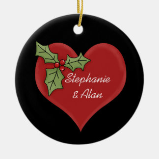 Red Heart Green Holly Christmas Ornament