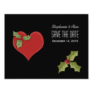 Red Heart & Green Holly Save The Date Card Personalized Invite