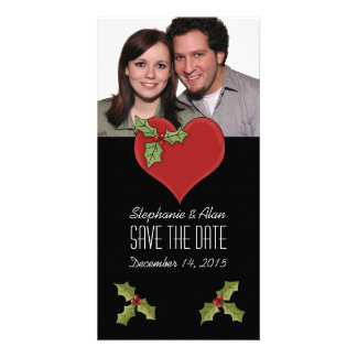 Red Heart & Green Holly Save The Date Photo Card