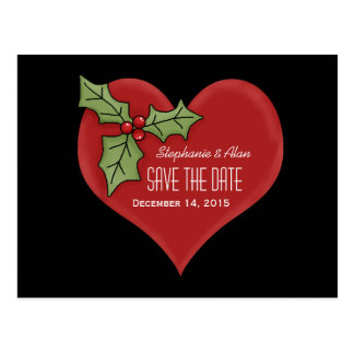 Red Heart & Green Holly Save The Date Postcard