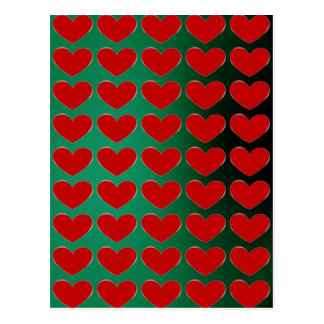 Red Heart Green Pop Art Love Postcard