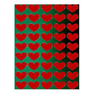 Red Heart Green Pop Art Love Postcard